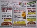 Menu Pizza 8€ / persona y una bebida gratis. Menú mediodía 10€/persona. Los jueves día del estudiante Menú Pizza 5€/persona y 1 bebida gratis